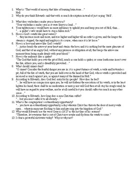 """Edwards """"Sinners in the Hands..."""" Questions and Answers"""