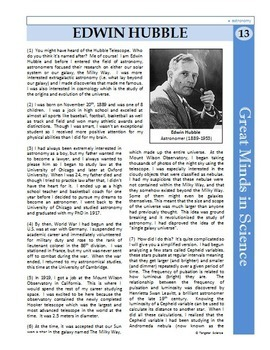 Edwin Hubble - Great Minds in Science Article #13 - Science Literacy Sub Plan
