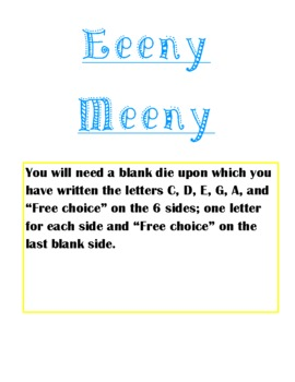 Eeeny Meeny Poem/Composition Activity with Orff Instrument