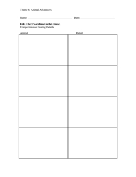 Eek! There's a Mouse in the House Details Graphic Organizer