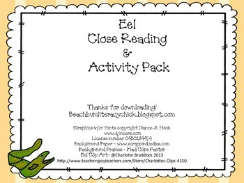 Eel Close Reading and Activity
