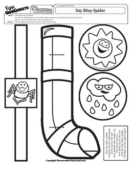 itsy bitsy spider coloring page - nursery rhyme activity for the itsy bitsy spider t