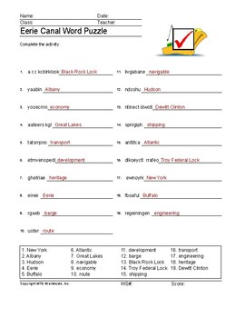 Eerie Canal Word Search and Vocabulary Puzzle Worksheets
