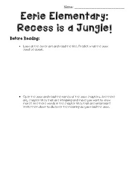 Eerie Elementary: Recess is a Jungle! Guided Reading Packet