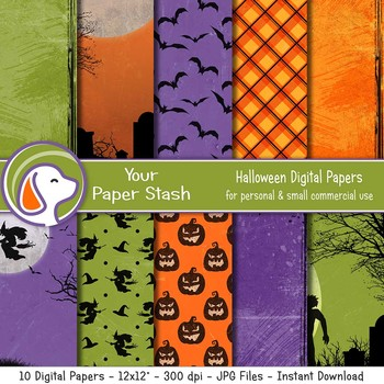 Eerie Halloween Digital Paper Backgrounds Walking Dead Spooky Halloween Paper