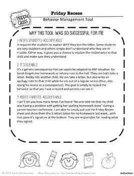 Effective Behavior Management Tool- FRIDAY RECESS Sheet
