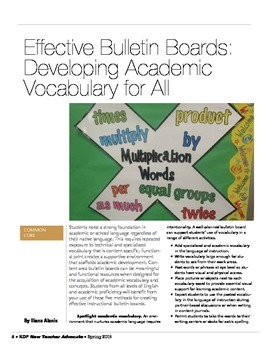Effective Bulletin Boards: Developing Academic Vocabulary for All