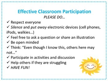 Effective Classroom Participation Rules