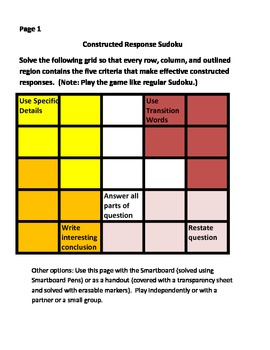 Effective Constructed Responses:  Critical Thinking Sudoku Activity