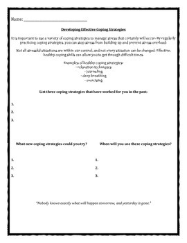 Effective Coping Strategies Goodnight Caterpillar worksheet