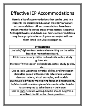 Effective IEP and 504 Accommodations