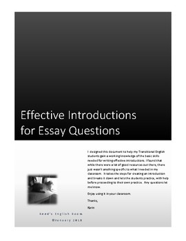 Effective Introductions for Essay Questions