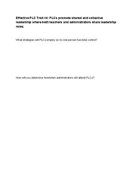 Effective Professional Learning Communities (PLC) Traits Planning Worksheets