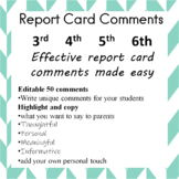 Effective Report Card Comments Made Easy for 3rd, 4th, 5th
