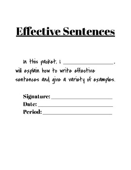 Effective Sentences Packet