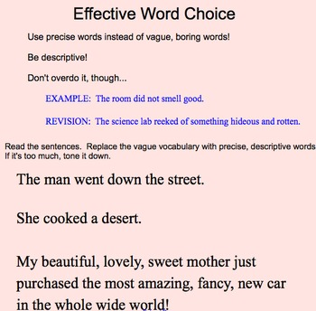 Effective Word Choice Minilesson