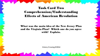 Effects of American Revolution Task Cards