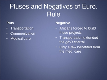 Effects of European Rule in Africa