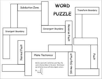 Effects of Plate Tectonics Word Puzzle (differentiated)
