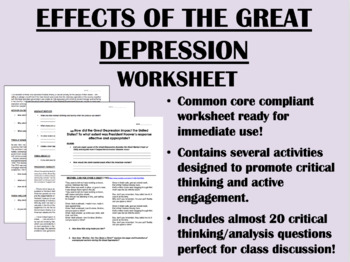 an analysis of the effects of the great depression 1gross domestic product data are from the us bureau of economic analysis   understanding of the effects of great depression financial distress on the.