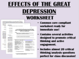 Effects of the Great Depression worksheet - US History Common Core