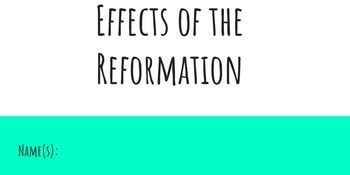 Effects of the Reformation Student Power Point
