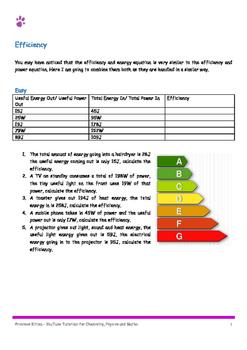 Efficiency Calculations. 10 easy, 10 medium,10 hard. Inclu