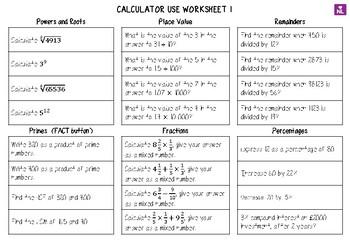 Efficient Calculator Use (Worksheet)