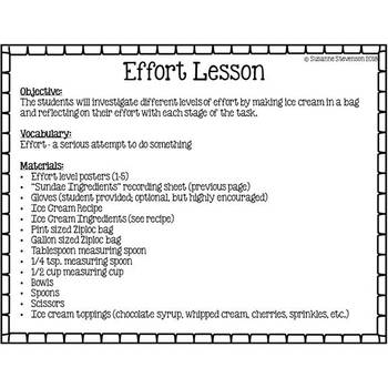 Effort Chart and Lesson