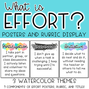 Effort Definition Posters and Rubric Display *3 Watercolor Themes*