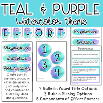 Effort Definition Posters And Rubric Display 3 Watercolor Themes