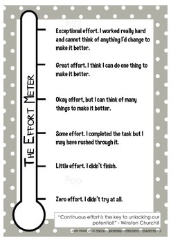 Effort Meter Poster/Student Self Reflection