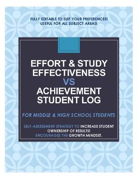 Effort & Study Habits vs. Academic Achievement (Student Log- Self- Assessment)