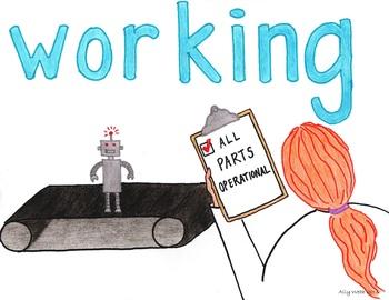 Efforts Working Cartoon--Printable Montessori Homonym Cards