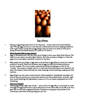 Egg Allergy - Informational Text Test Prep