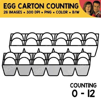 Egg Carton Counting Scene Clipart