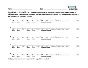 Egg Carton Place Value Game