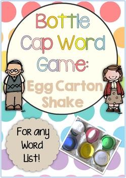 Egg Carton Shake Bottle Cap Center Game for any Word List
