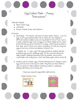 Egg-Cellent Math - Counting Coins