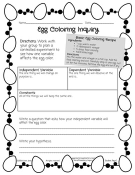 Easter Egg Coloring Inquiry Activity: Student Designed Controlled Experiments