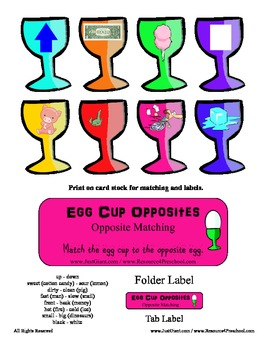 Egg Cup Opposites File Folder Reading Center - Opposite Introduction Preschool