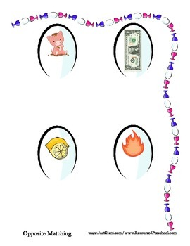 Egg Cup Opposites File Folder Reading Center - Opposite Introduction Preschool