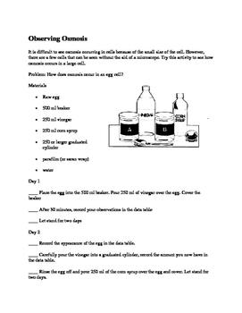 Egg Diffusion and Osmosis Lab