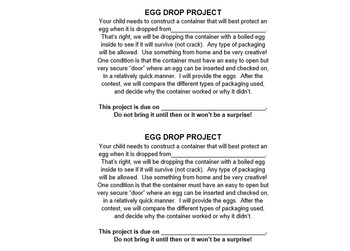 Egg Drop Project (Easter Fun!)