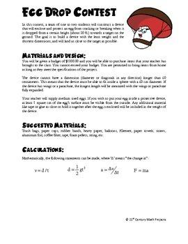 Egg Drop Contest -- Algebra & Physics STEM - 21st Century Math Project