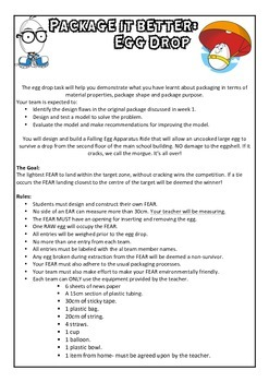 Egg Drop Task Sheet