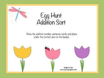 Egg Hunt Addition Sort