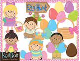 Egg Hunt, Easter Spring Clip Art