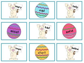 Egg Hunt Synonym and Antonym Match