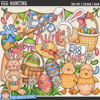 """Easter Clip Art 3: """"Egg Hunting"""""""